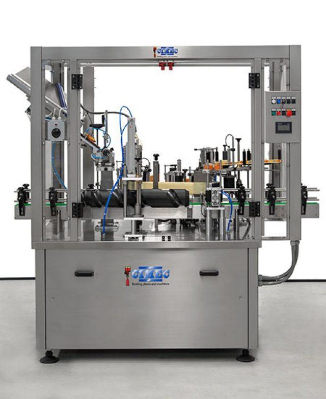 Cork dispenser and end cap labelling machine